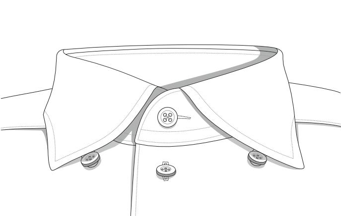 Buttonunder-Kragen reguläre Kragenhöhe