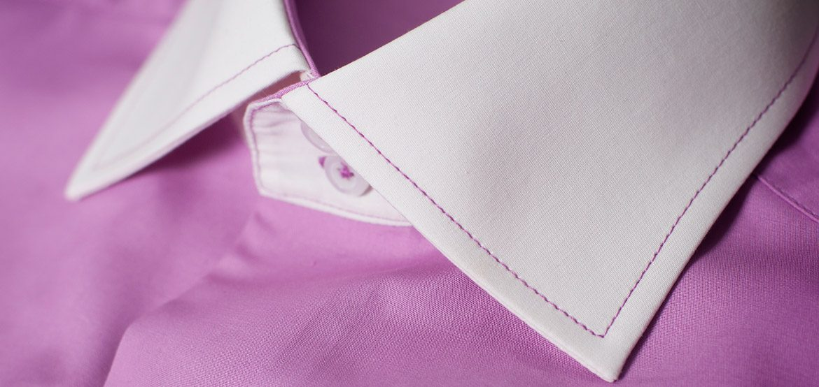 Purple shirt with white collar + white cufs