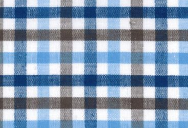 Linen blue brown checkered