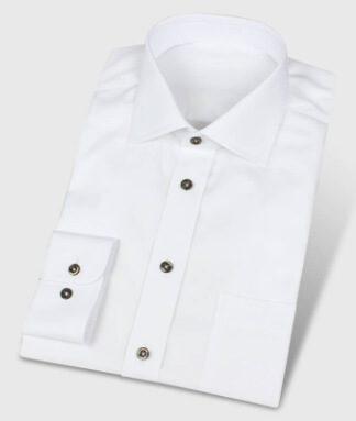 Hemd weiß mit dunkelbraunen Knöpfen