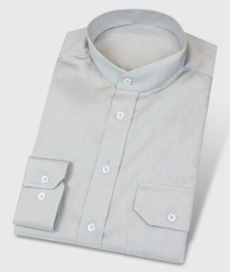 Graues Stehkragenhemd