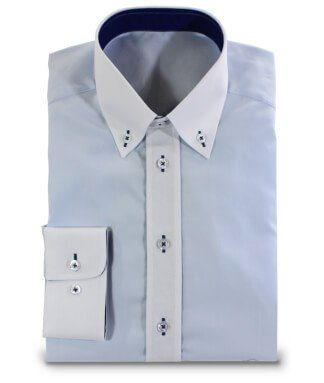 Shirt with Button-Down Collar Blue and White
