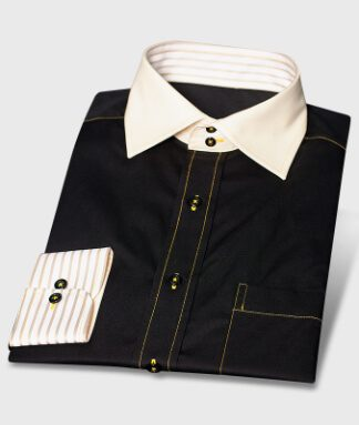Black Design Shirt with Cutaway Collar 2-Buttons Non-iron