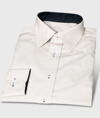 Cream Colored Cotton Shirt with Contrasting Colors