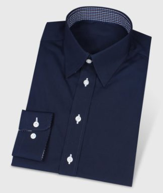 Dark blue Button-Under-Shirt with Checkered Contrasting Fabric