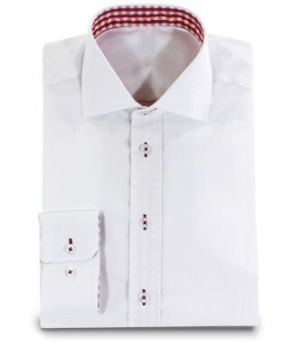 White Shirt with Red Applications Collar