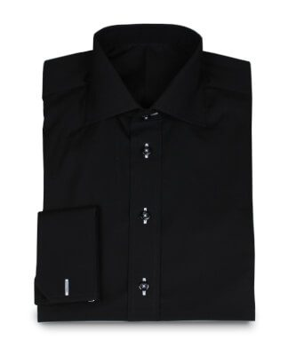 Black shirt with different buttonhole colour and button thread