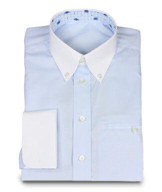 Raffiniertes Business Hemd in Hellblau mit Kontraststoffen
