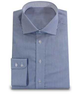 Elegant Shirt with Cutaway Collar and blue white stripes