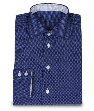 Dark blue Custom Made Shirt with White Dots
