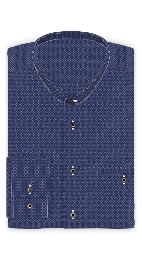 Popeline Weiß gepunktet Trachtenhemd  Riegel zum Festbinden des Ärmels
