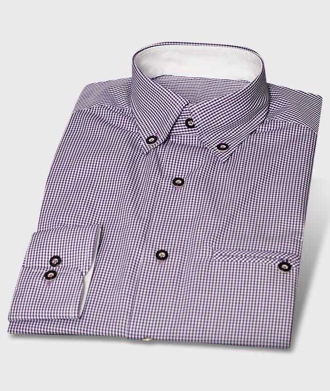 Modernes Design Trachtenhemd in trendigem Lila kleinkariert, Hornknöpfe