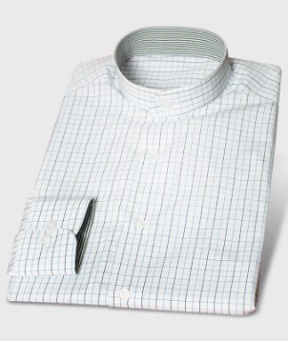 Blue-checkered Business Shirt with Nehru-Collar