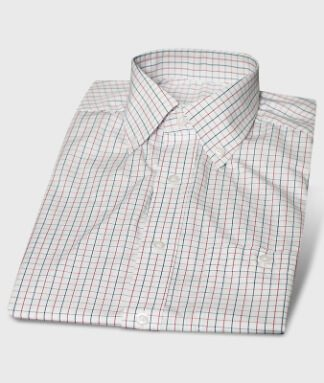 Colored Checkered Short Sleeve Shirt Button-Down Collar