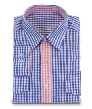 Vichykarohemd in blau-rosa