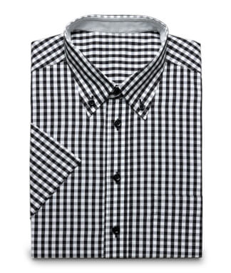 Black checkered shirt with buttone down collar