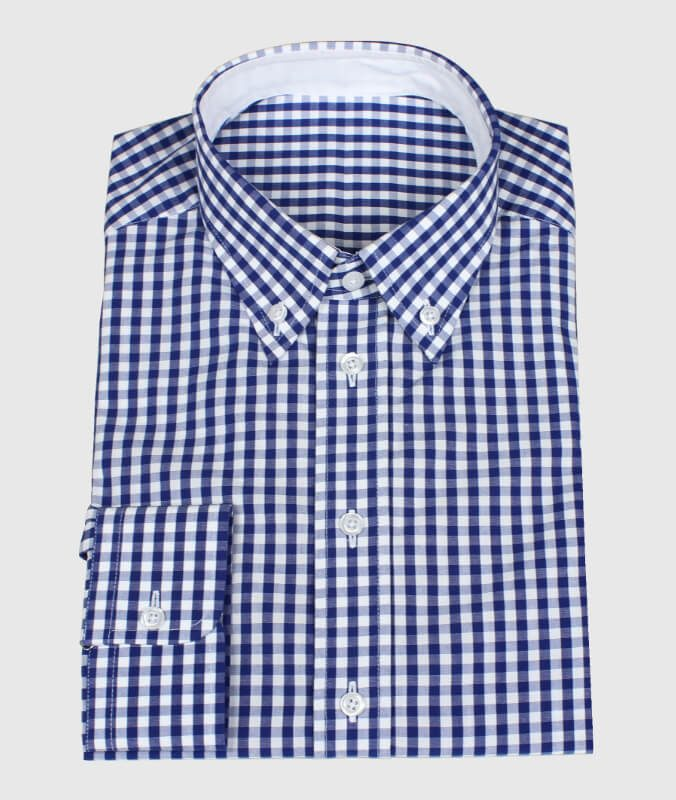 Blue Checkered Casual Shirt with White Fabric for Collar Inner Side