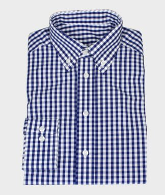 Casual Shirt Checkered Blue with Button-Down Collar