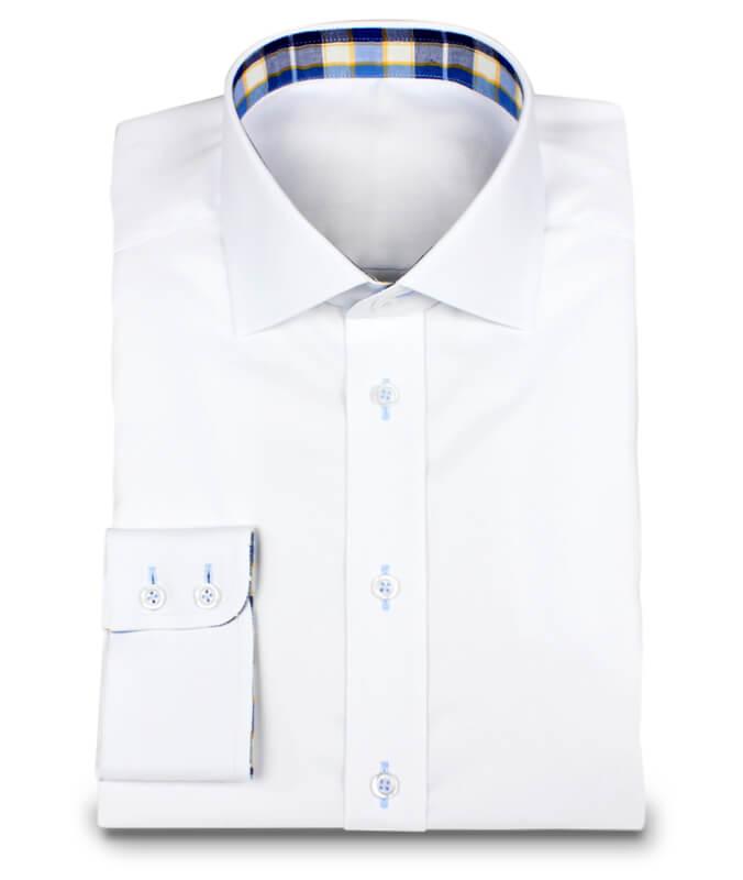 Weißes Oxfordhemd mit Karo-Kontraststoffen