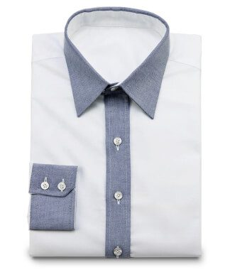 Oxford shirt in white-grey contrast collar without stitching