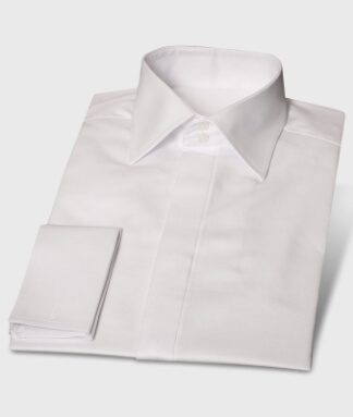 Fine Herringbone Shirt White