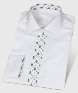 White Fishbone Shirt Paisley Design as Contrasting Fabric