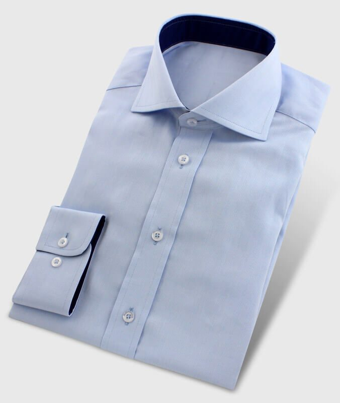Business Shirt Lightblue with Collar Inside Fabric Darkblue