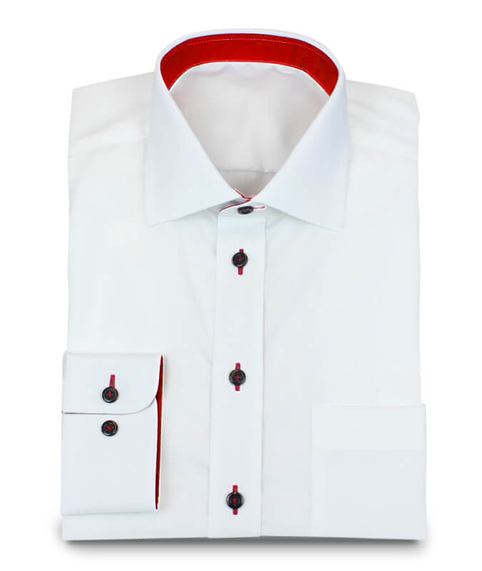 Design Shirt Wrinkle Free with Red Contrasting Colors