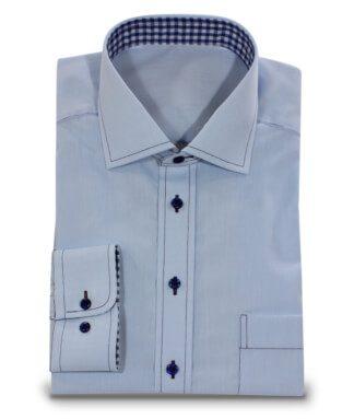 hellblaues knitterfreies Hemd für Büro und Freizeit
