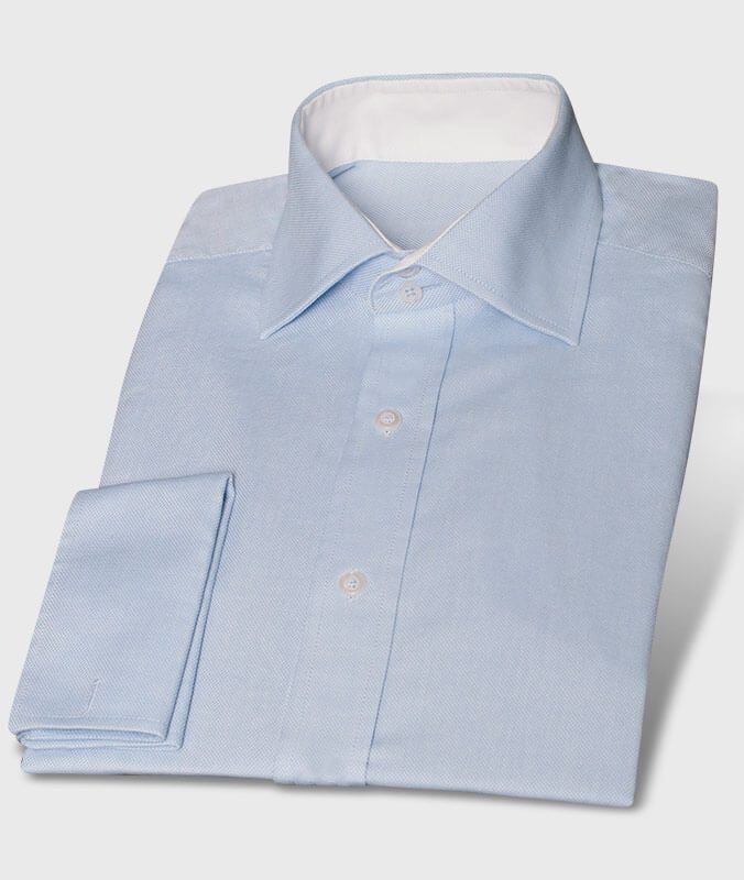 Blue Shirt Made of Royal Oxford with White Cutaway Collar
