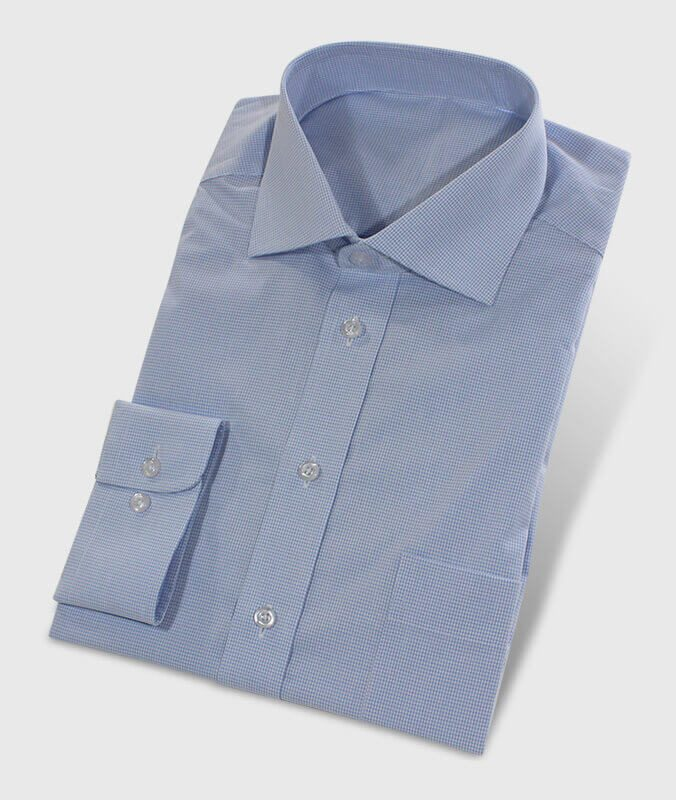 Custom Made Shirt Lightblue with Fine Check Design