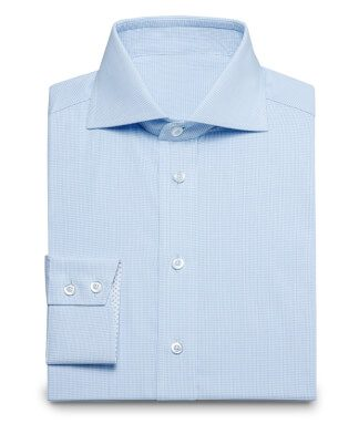 Small plaid business shirt in pastel blue