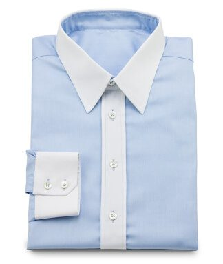 Light blue Oxford shirt with Winchester collar and mother-of-pearl buttons