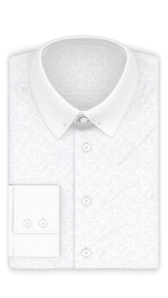 Jacquard Weiß Festliches Hemd