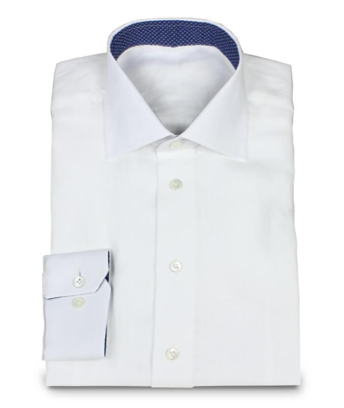 Weißes Leinenpopeline Hemd