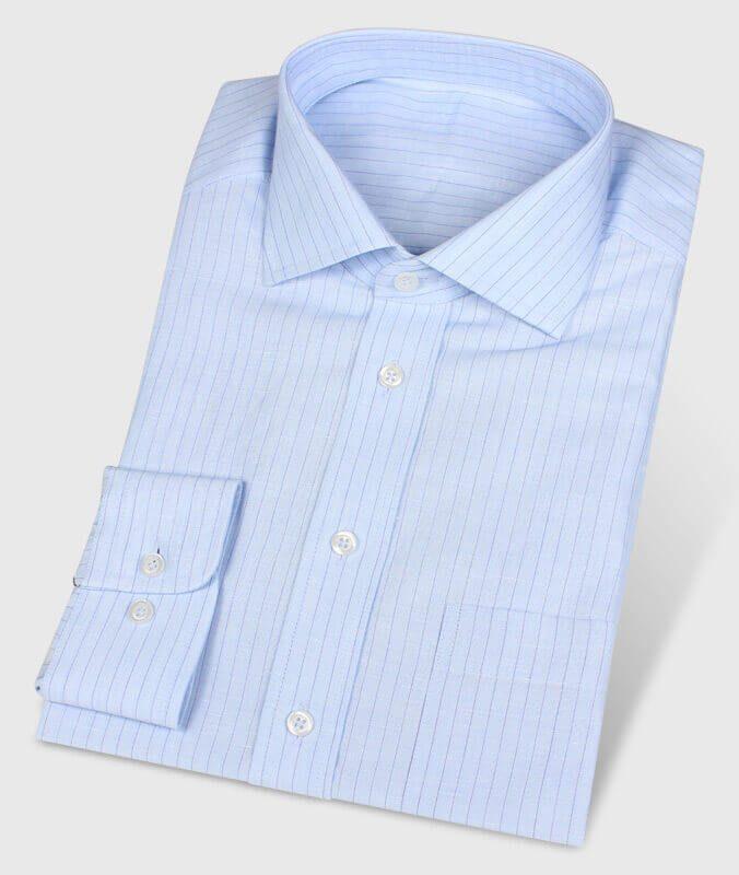 Leinenhemd Blau liniert