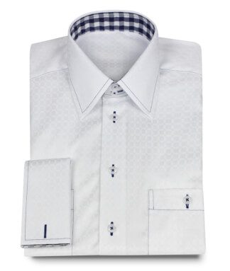 Stylish White Custom Made Shirt with Fine Pattern