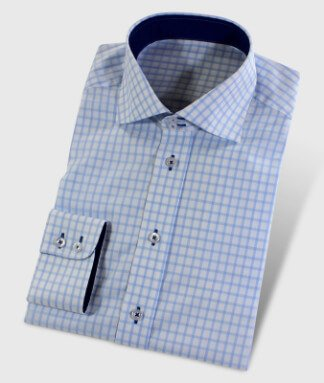 Double Button Collar Lightblue Checkered