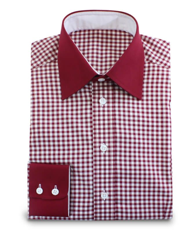 Shirt Red White Checkeredd with Darkred Contrasting Fabrics