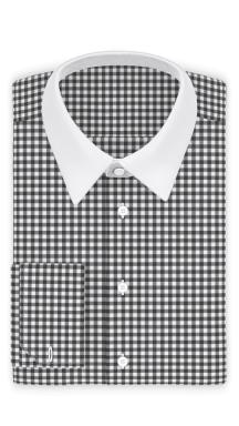 Vichykaro Dunkelgrau Businesshemd weißer Kragen + Manschetten