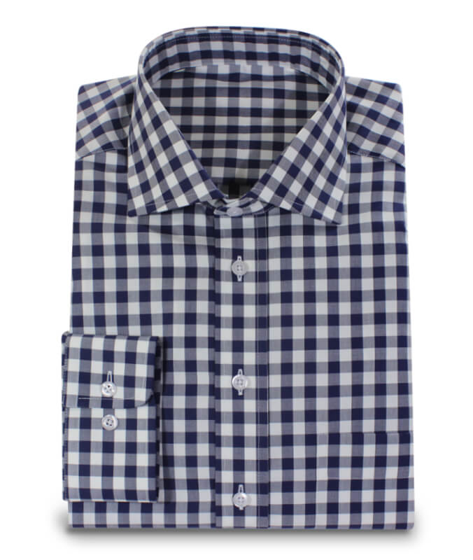 653afc687 Dark Blue White Checkered 2ply Shirt Custom Made | Custom Made Shirts by  hemdwerk®
