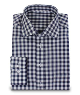Dark Blue White Checkered 2ply Shirt Custom Made