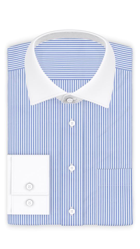 Popeline Hellblau gestreift Businesshemd