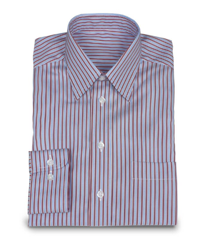 Fine Shirt in Dobby Striped Pattern Red Blue